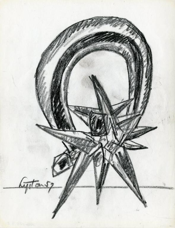 Preliminary drawing for the sculpture Diadem