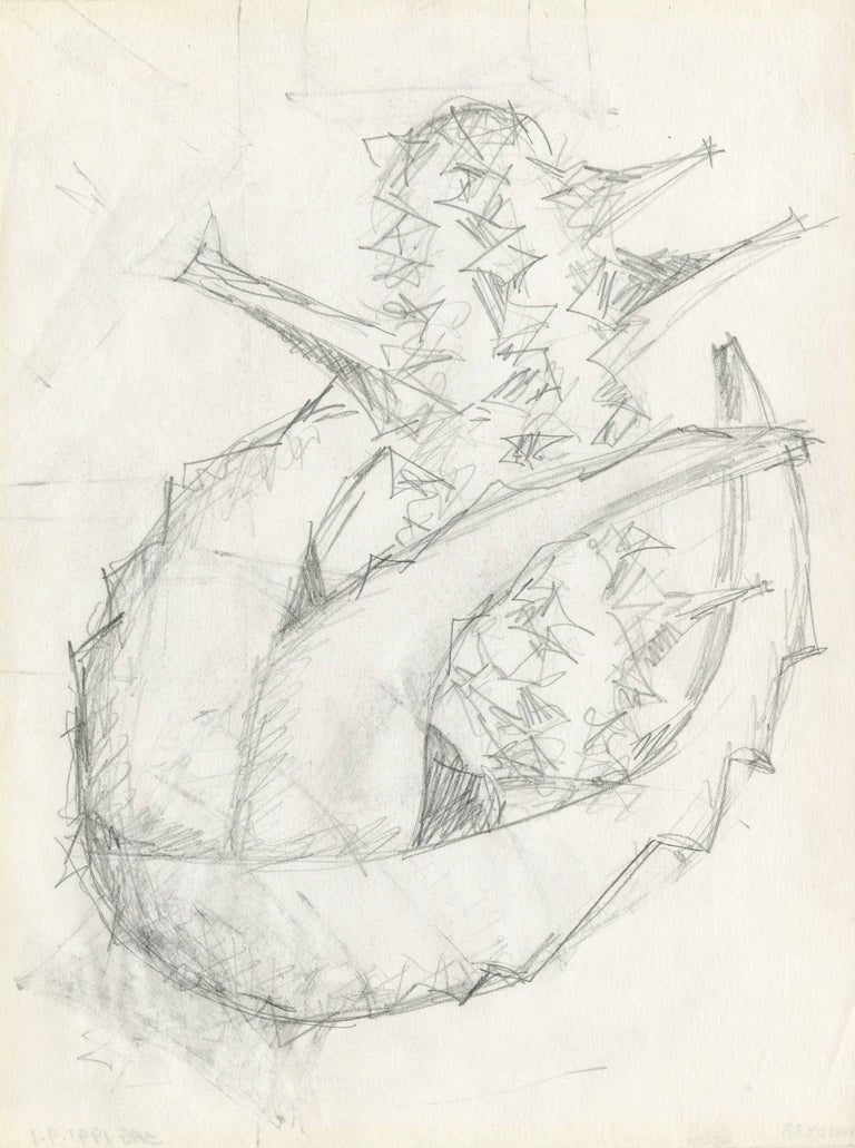 Seymour Lipton Abstract Drawing - Preliminary drawing for a sculpture
