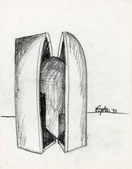 Preliminary drawing for the sculpture Catacombs