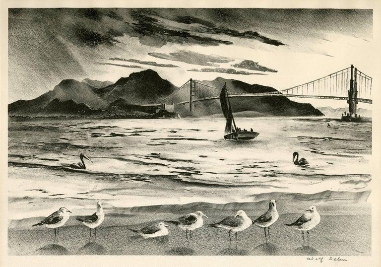 Adolf Arthur Dehn Landscape Print - The Golden Gate