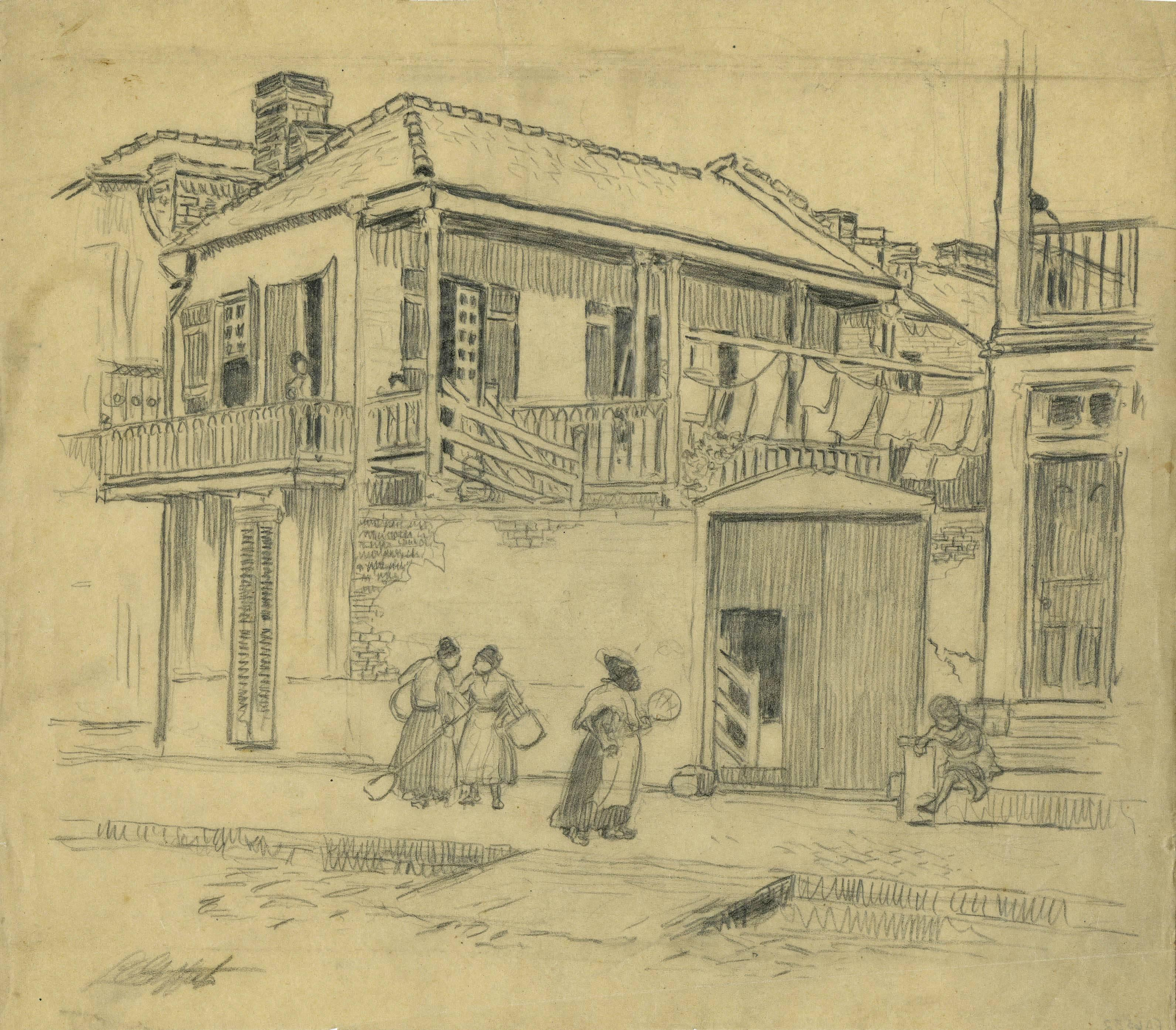 """Preliminary Drawing for the color aquatint """"Street Gossip"""""""
