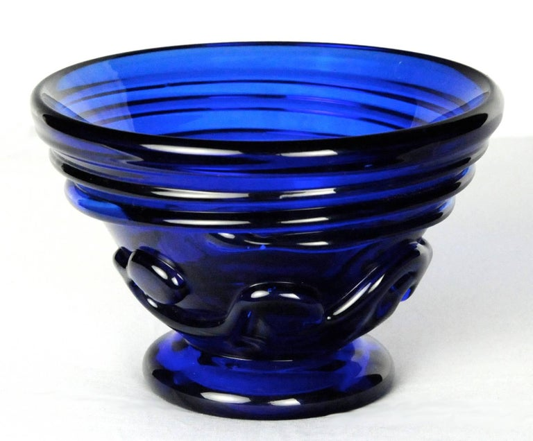 "Cobalt Vase with ""Lily Pad"" Pattern"