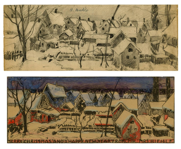 August F. Biehle Landscape Art - Merry Christmas and a Happy New Year