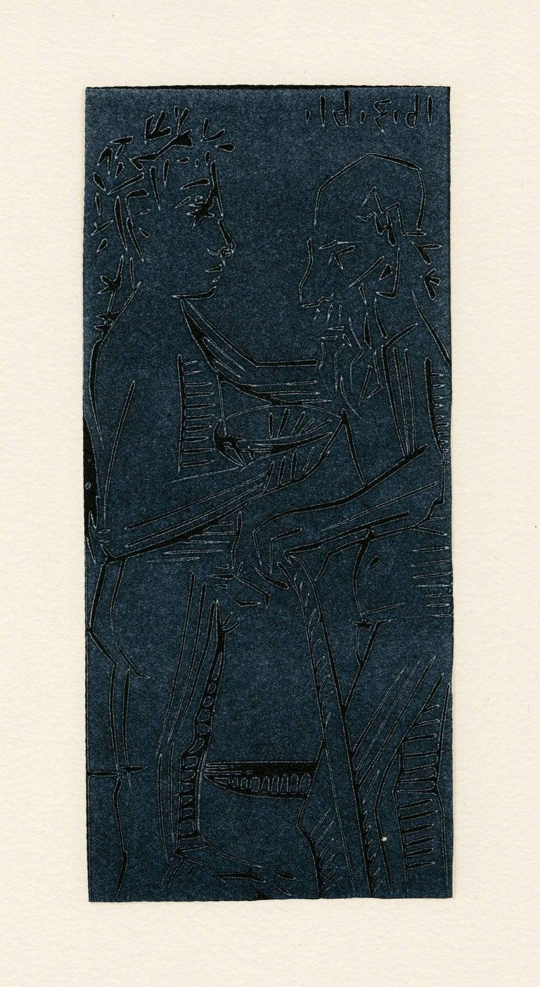 Jeune homme apportant une ecuelle a un viellard, Issac et Jacob(?)