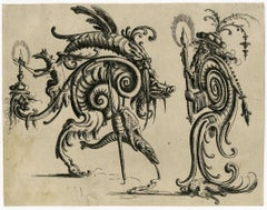 Grotesque with two hybrid gristly creatures facing each other