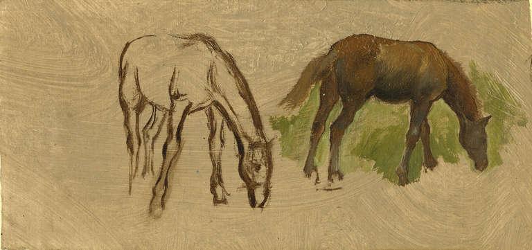 Frederic A. Bridgeman Animal Painting - Two Horses