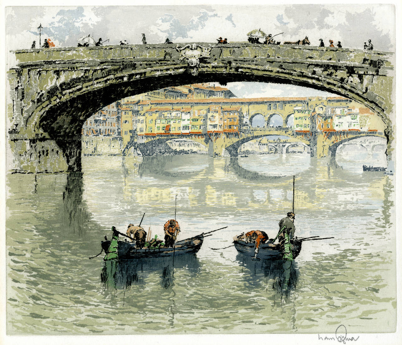 Ponte Santa Trinita with the Ponte Vecchio seen under bridge, Florence