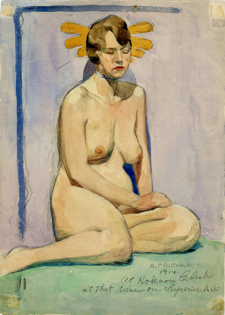 Seated Nude Model - Art by August F. Biehle
