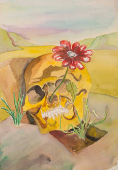 Surrealist landscape with skull and flower