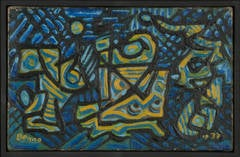 untitled (Abstraction in Blue, Gold, Green and Black)