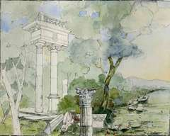 Landscape with Ruins of a Classical Temple (Along the Tiber River?)