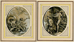 A pair of oval drawings for Ovid, Metamophoses