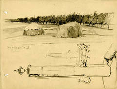 """The """"Hair Pin"""" Road, and Studies of a Well Head and Candleholder, Capri"""