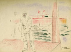 Untitled (Sailor, boats, dock, and waves)