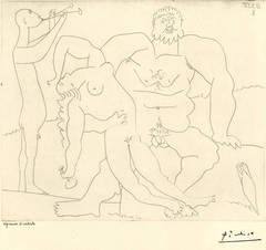 Homme nu avec femme ivre et jeune flutiste