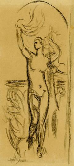 Standing Nude in Landscape