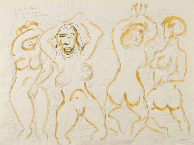 Brick Tops Place Paris '27; Verso: Elliot Paul gives a party for Picasso, Paris - Art by Stephen Longstreet