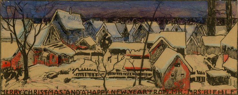 Merry Christmas and a Happy New Year - Brown Landscape Art by August F. Biehle