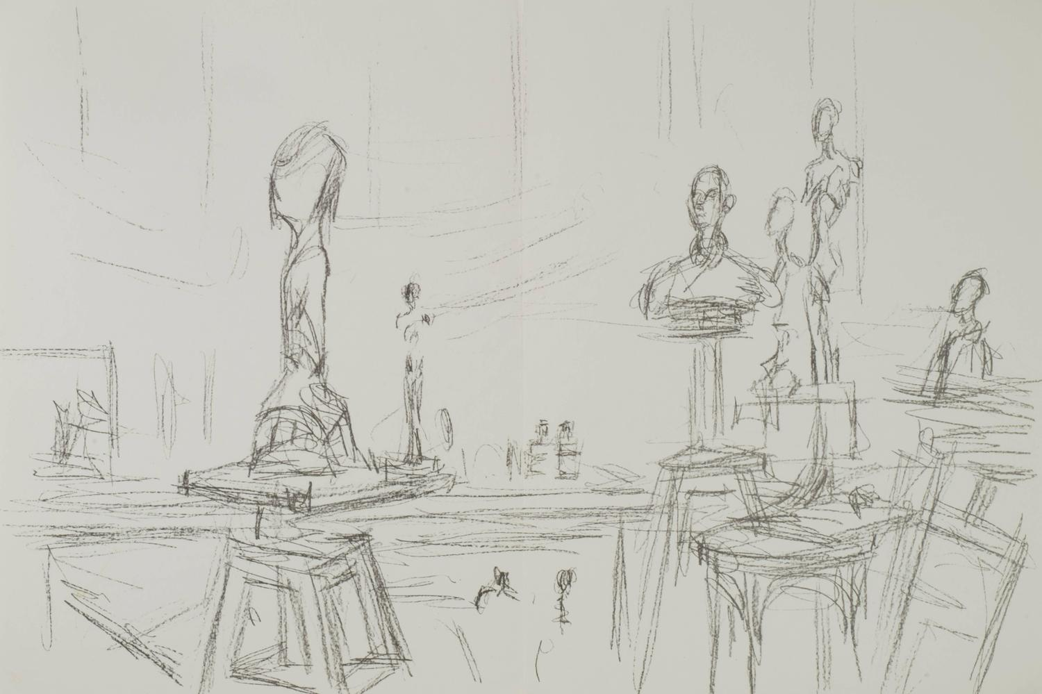 Alberto giacometti studio with sculptures from derriere for Derriere le miroir giacometti