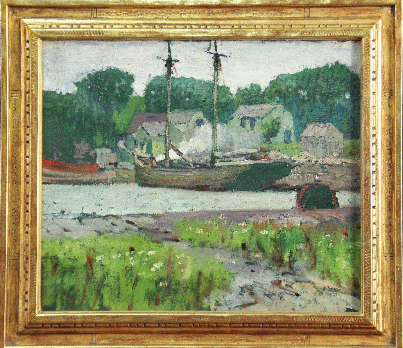 Fisherman's Cove, American Impressionist, Harbor Scene, Ben Badura Frame