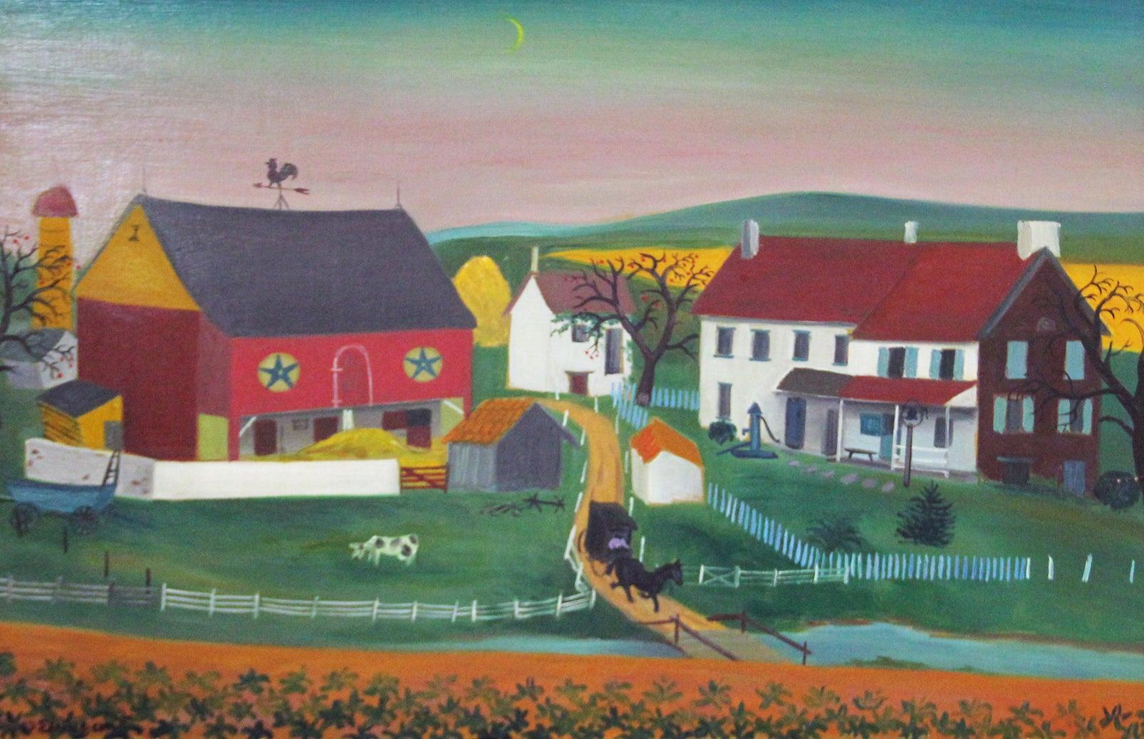 Blue Hills, Folk Art Landscape of Farm Life in Pennsylvania Dutch Style