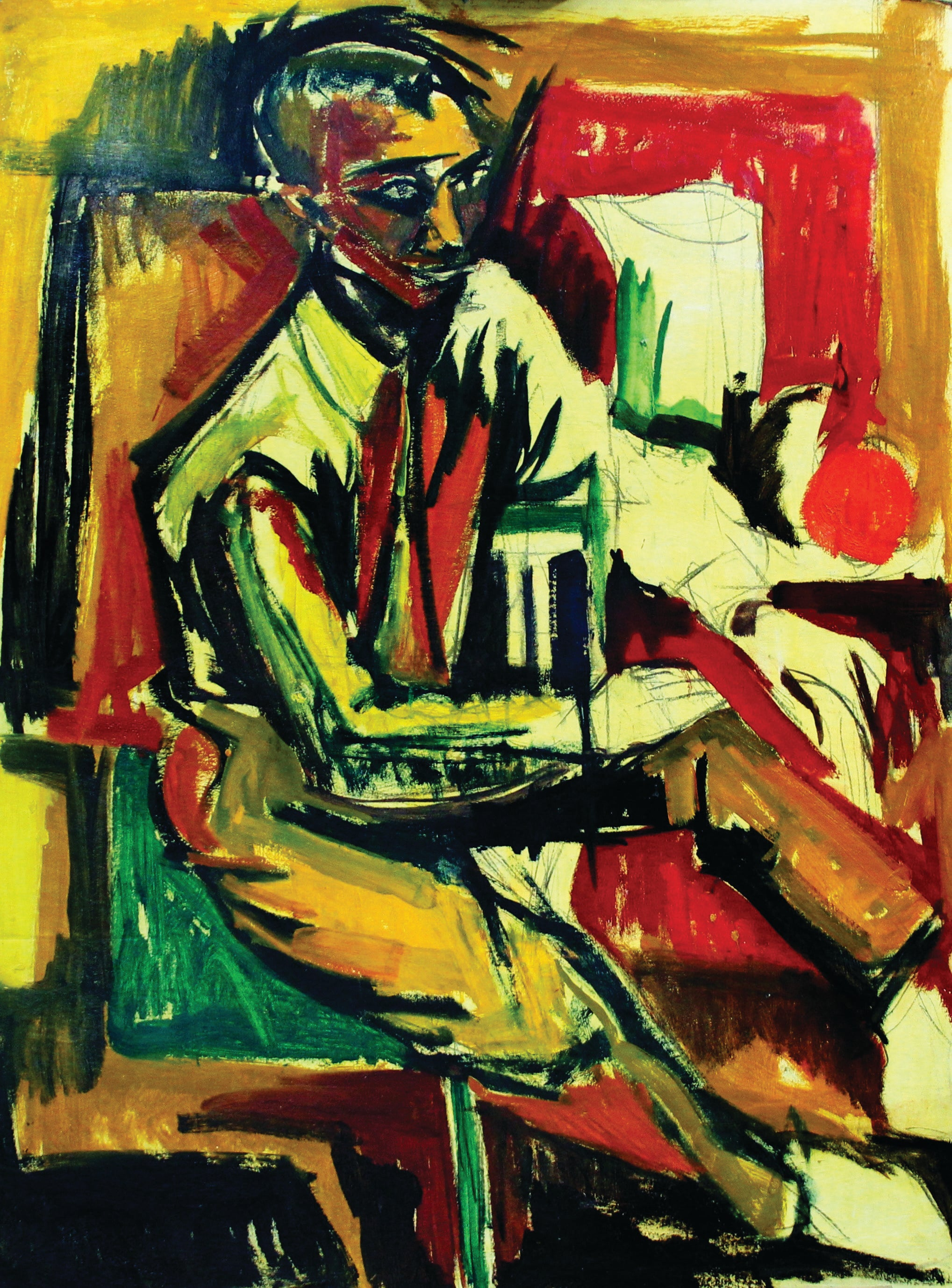 Seated Figure, Expressionist Color Male Portrait, African American Art