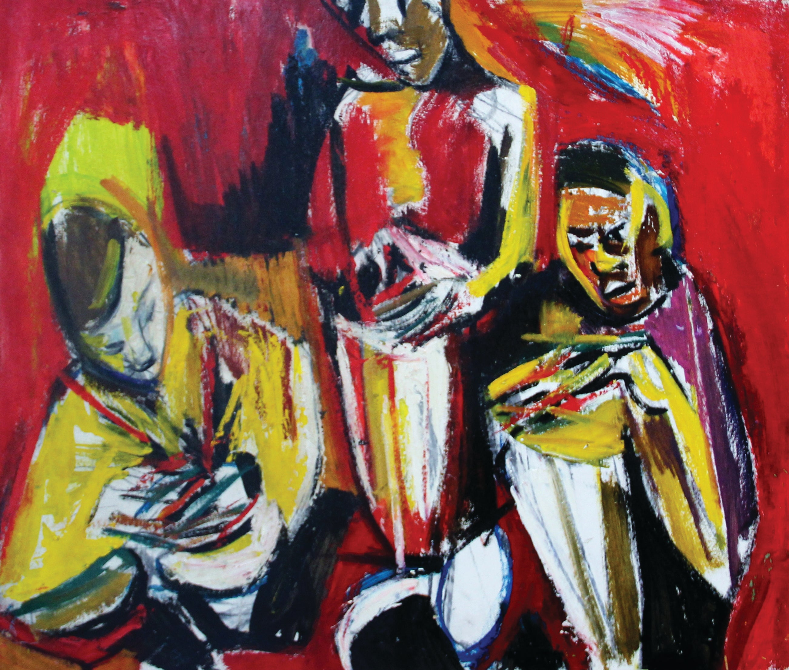 Drums, Expressionist Group Portrait of Three Musicians, African American Art