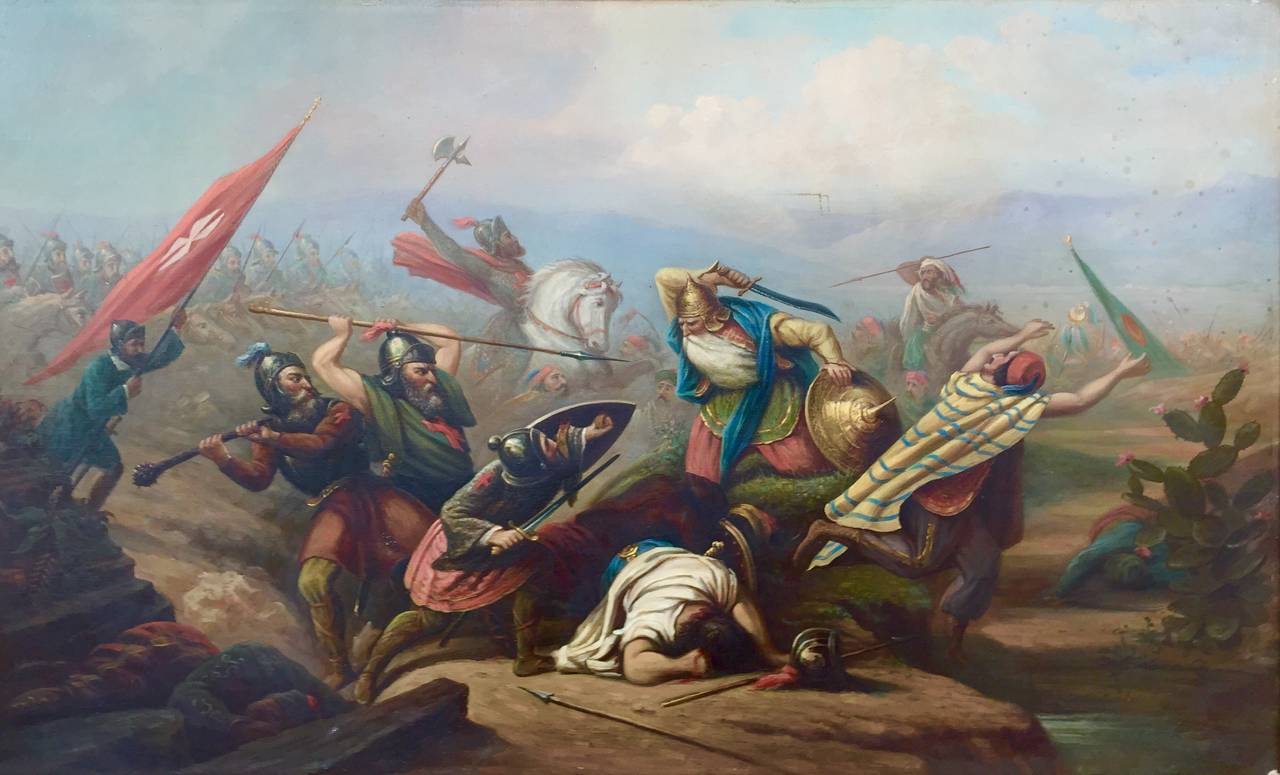"Adam Springfield Figurative Painting - ""The Battle of Ptolemais, 1191"""