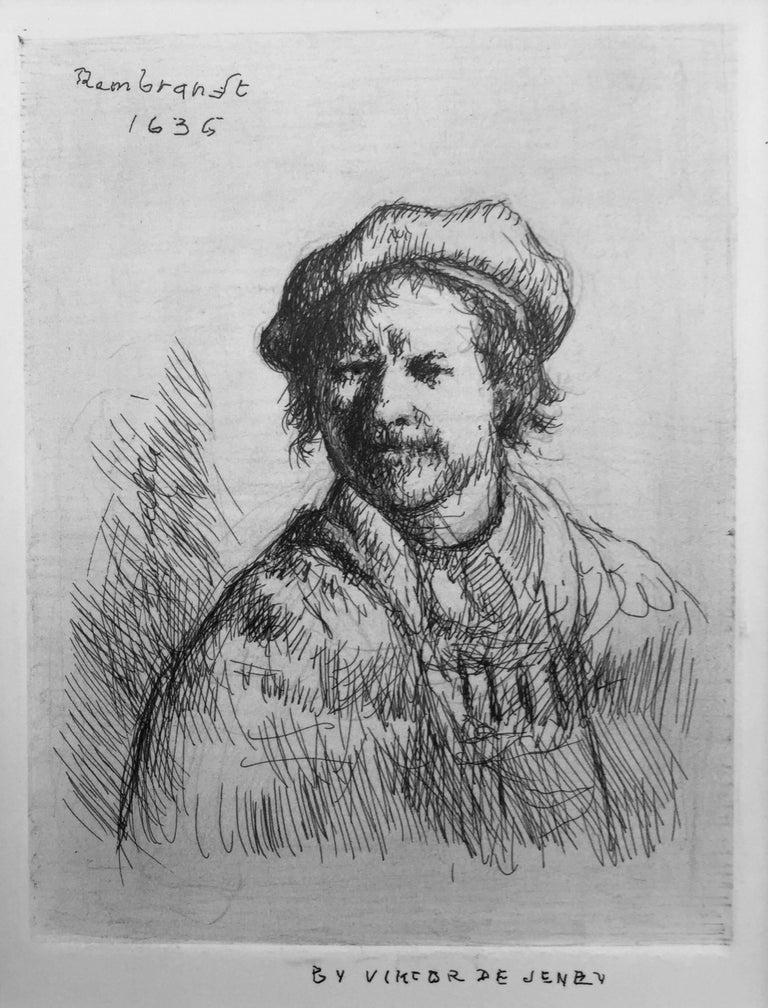 """Viktor de Jeney Portrait Print - """"Rembrandt Self Portrait, 1636"""""""