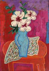 """White Hibiscus in Blue Vase"""
