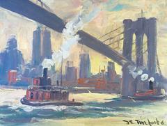 "Bela DeTirefort - ""Tugboats under Brooklyn Bridge"""