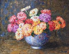 """Zinnias in a Blue Vase"""