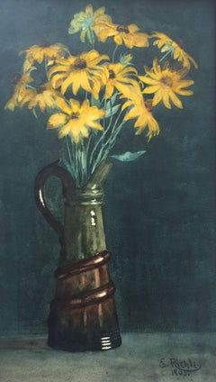 """Black-eyed Susans in Ceramic Pitcher"""