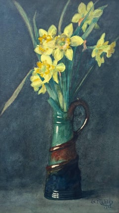 """Daffodils in Ceramic Pitcher"""