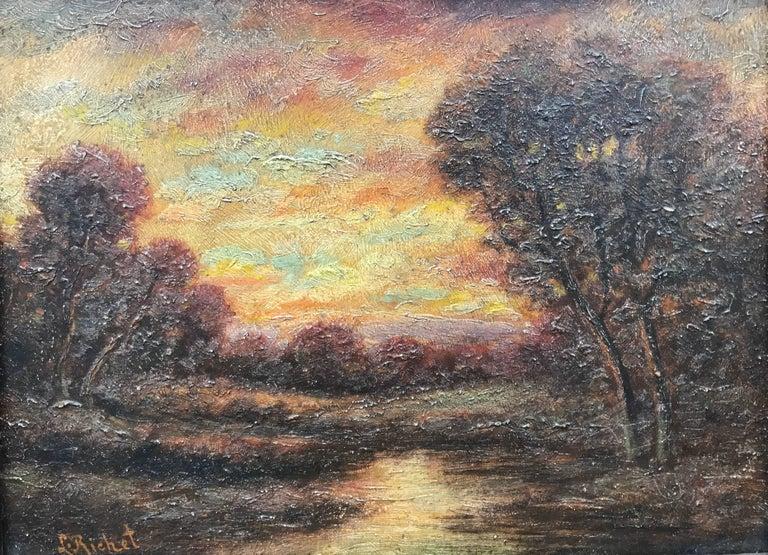 "Leon Richet Landscape Painting - ""Sunset on the River"""