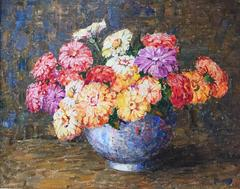 """Zinnias in a Blue Vase"""
