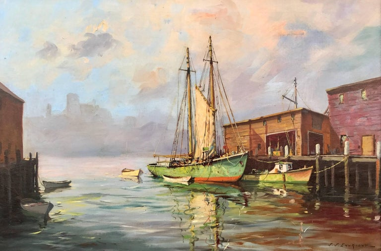 "C. Hjalmar Amundsen Landscape Painting - ""Old South Pier Gloucester"""