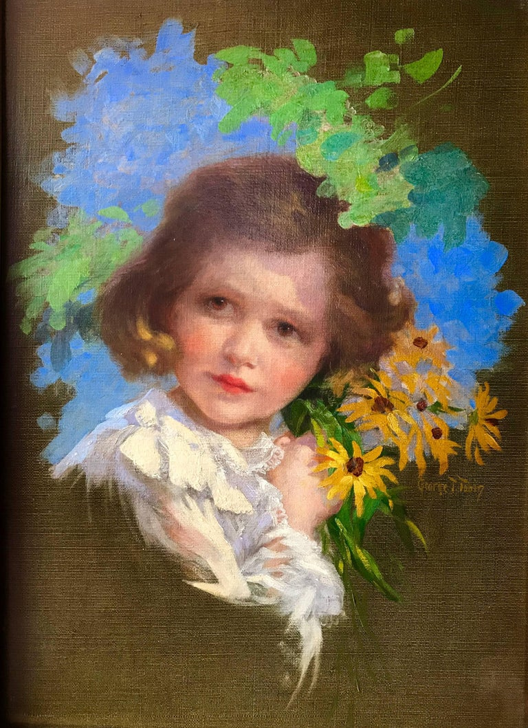 "George Timothy Tobin Portrait Painting - ""Girl with Black-eyed Susans"""