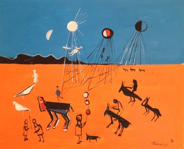 "Nahum Tschacbasov Landscape Painting - ""Alien Invasion"""