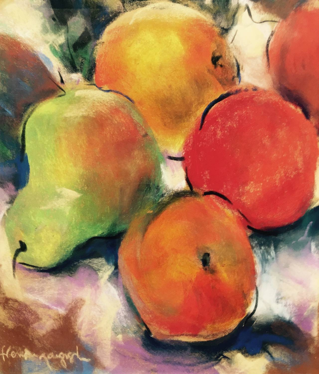 Fabulous pastel on paper by the French arist Henri Pinguenet. Done circa 1965.  His colors are brilliant and vibrant. Wonderful technique as well as a wonderful study of fruit on the table. Condition is good with gallery matting and tastefully