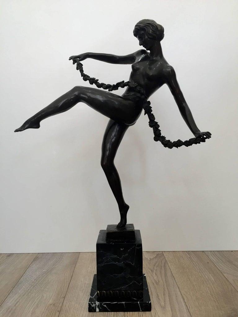 "Pierre Le Faguays Nude Sculpture - ""Deco Dancer"""