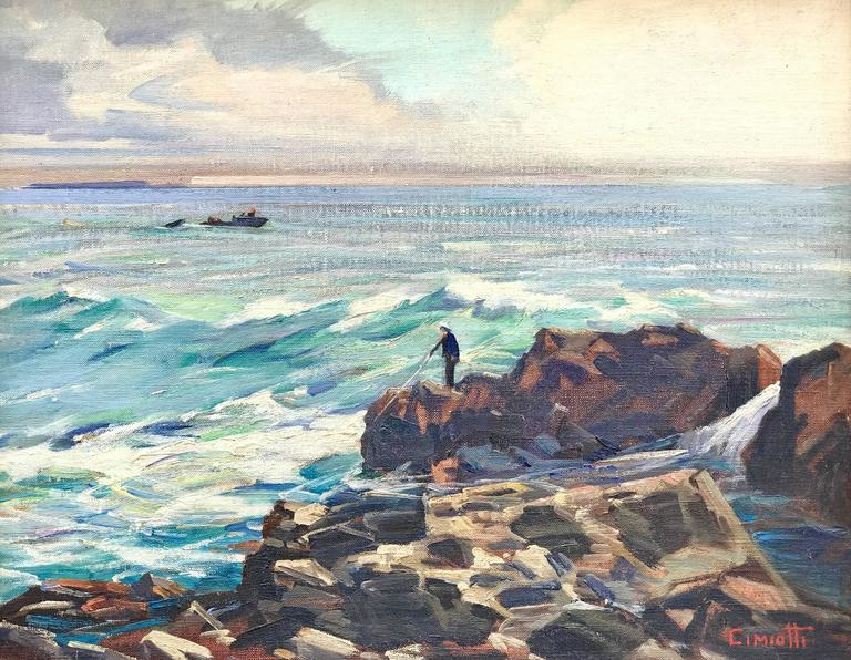 """Gustave Cimiotti Jr. Landscape Painting - """"The Fisherman, Maine"""""""