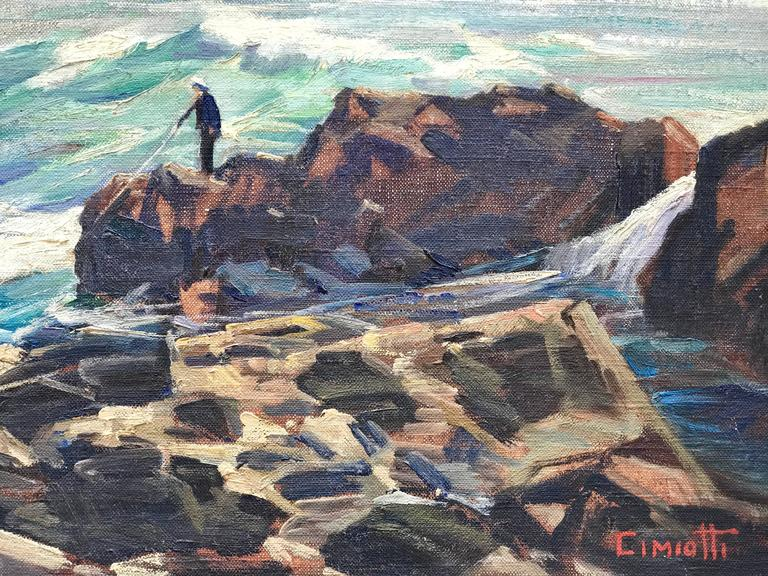 Oil on artist board painting of a lone fisherman on the rocks of Maine by Gustave Cimiotti Jr.  Circa 1950.   Signed lower right and titled verso.  Condition: Good.  Overall framed in a dark walnut stained oak frame with off white linen liner 23.5