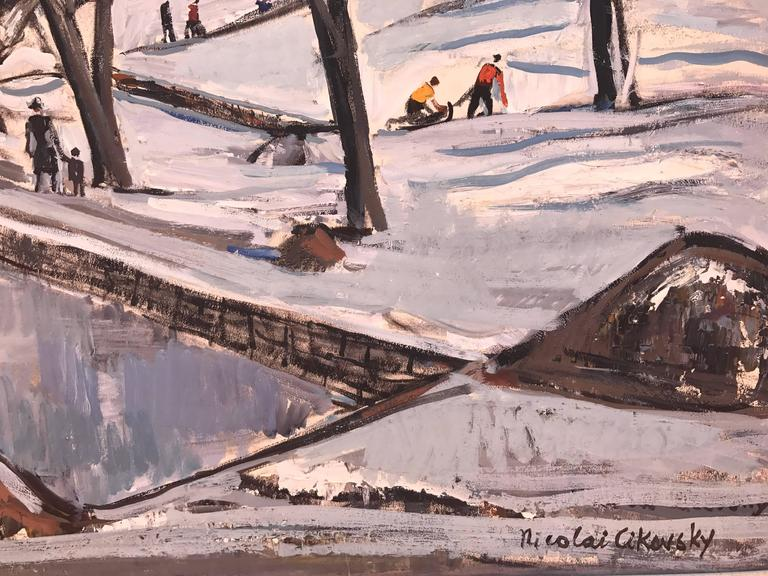 """Oil on artist board of a winter day in """"Central Park"""" in New York City by the Russian/American artist, Nicolai Cikovsky.  Signed lower right. In excellent condition. Circa 1960. Framed in contemporary silver leaf frame with linen liner."""