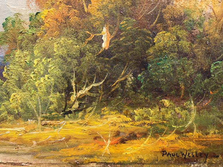 Oil on artist board painting by the American artist, Paul Wesley. Signed lower right.  Titled and signed verso. Circa 1930. Condition:  excellent. Provenance: A private estate, East Hampton, New York.  Overall size framed is 18 by 22