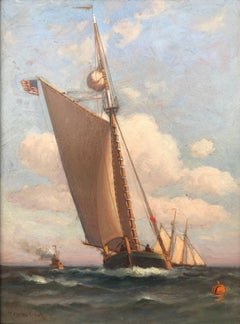 """Gaff Rigged Sloop at Sea"""