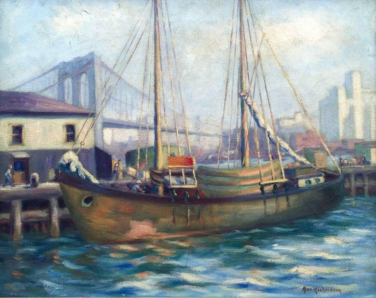 "Alexander R. Richardson Landscape Painting - ""Fulton Fish Market"""