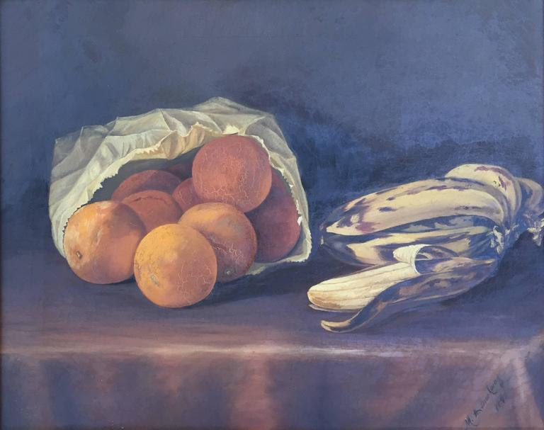 "Martha A. Brockway Still-Life Painting - ""Still life with Oranges and Bananas"""