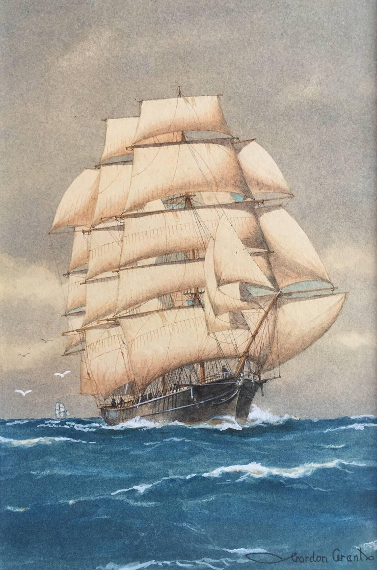 Beautifully rendered watercolor of a sailing ship under full sail in good original condition. Very slight fading or toning.  Signed lower right and recently gallery framed with rope turned gilt frame and off white mat.  Framed size 26.5 by 22.5