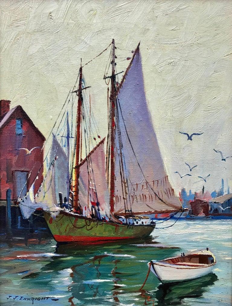 """C. Hjalmar Amundsen Landscape Painting - """"Gloucester Dockside"""""""